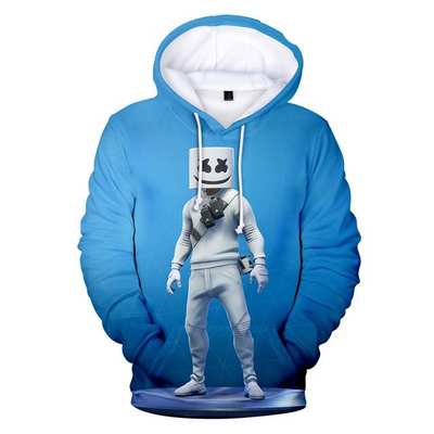 Dj Marshmello Full Body Blue Background 3D Hooded Sweatshirt