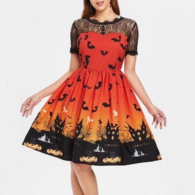 Halloween Women Vintage Short Sleeve Lace Dress