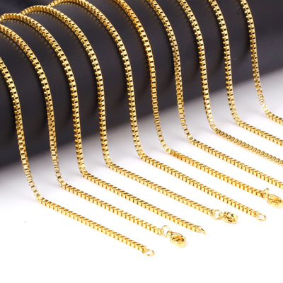 10 pcs 2mm Gold and Silver Square Rolo Stainless Steel Chains Necklace
