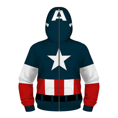 Captain America Superhero 3D Hooded Sweatshirt for Kids