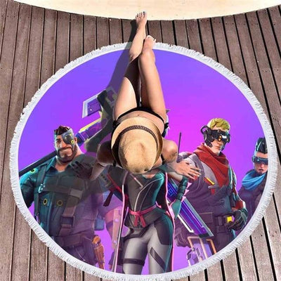 Cyberpunk Heroes Save the World Round Beach Towel Mat
