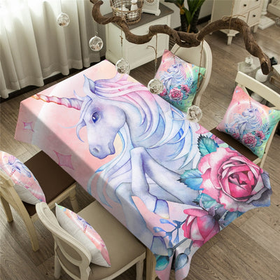 Blink Unicorn and Rose Bunch Waterproof Printed Tablecloth