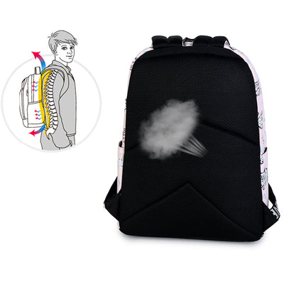 Cute Cat Printed Backpack Laptop Compartment