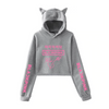 BLACKPINK Rose Signature Cat Ear Hooded Crop Sweatshirt