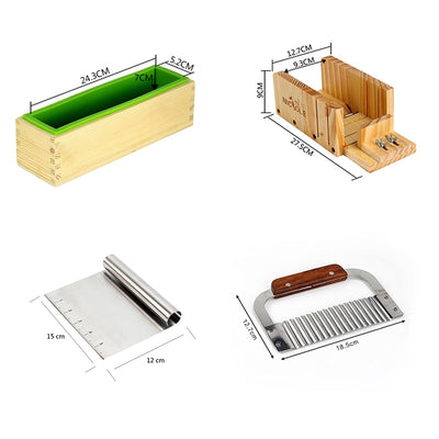 Adjustable Wooden Loaf Cutter Box Silicone Mold Soap Making Tool Set
