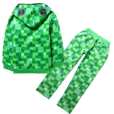 Minecraft Creeper Full Zip Hooded Jacket and Pants Set for Kids