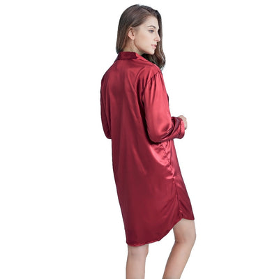Women Satin Dress Shirt Pyjama