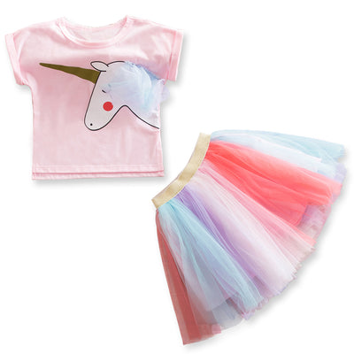 Sweet Pink Unicorn Tee and Rainbow Tutu Skirt Set (2-6Y)