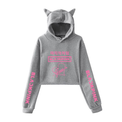 BLACKPINK Jisoo Signature Cat Ear Hooded Crop Sweatshirt
