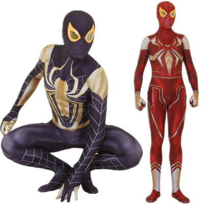 Spiderman PS4 Iron Spider Cosplay Bodysuit Costume for Kids and Adults