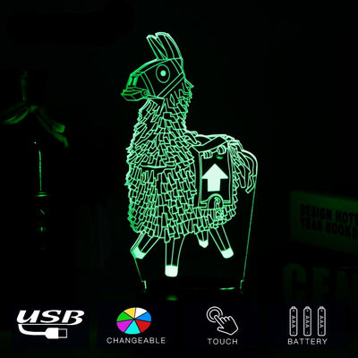 3D Battle Royale Supply Llama Color Changing Table Lamp
