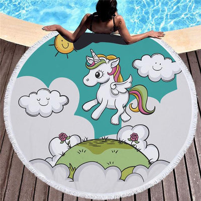 Sunny Unicorn Cartoon Printed Round Beach Towel Mat