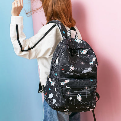 "Waterproof Astronaut Printed Backpack 15"" Laptop Compartment"
