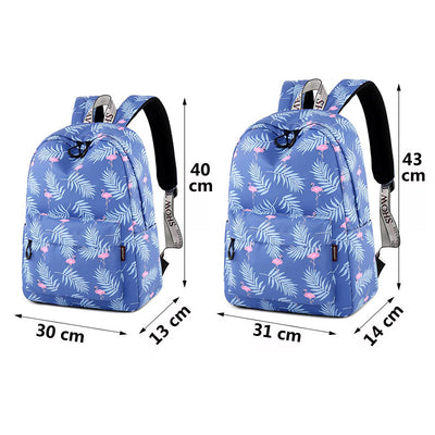 "Flamingo Cartoon Printed Backpack 14"" 15"" Laptop Compartment"