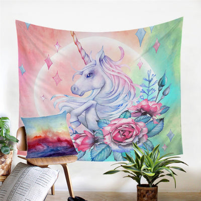 Blink Unicorn and Rose Bunch Wall Hanging Decorative Tapestry