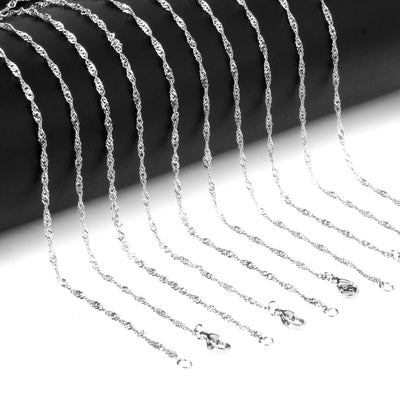 10 pcs 2mm Gold and Silver Stainless Steel Twisted Singapore Chains Necklace