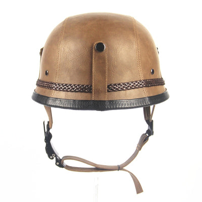Vintage Open Face Half Leather Motorcycle Helmet with Goggles and Mask