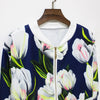 Women Floral Printed Zipper Bomber Jacket