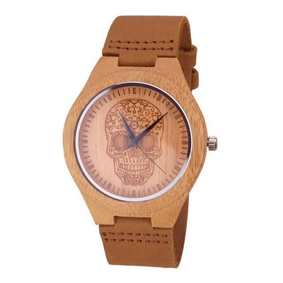 Floral Skull Wooden Watch with Genuine Leather Band