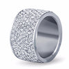 Stainless Steel Crystal Pave Ring