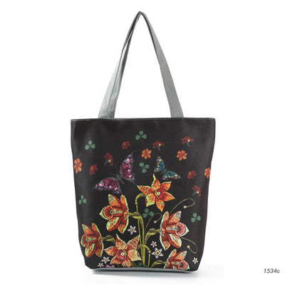 Floral Printed Canvas Tote Bag