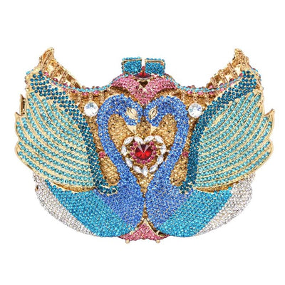 Double Swan Shape Crystal Clutch