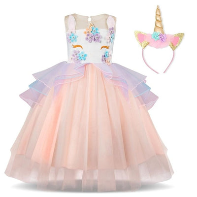 Girls Unicorn Princess Dress Set with headband (3-8Y)