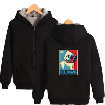 Unisex Dj Marshmello Mellogang Logo Full Zip Hooded Jacket