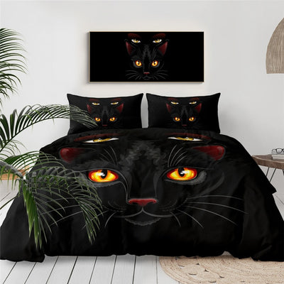 Black Cat Duvet Cover and Pillow Cases Bedding Set 3pcs