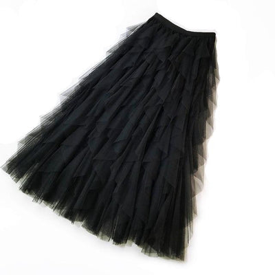 Women Tulle Mesh High Waist Ankle-length Maxi Skirt