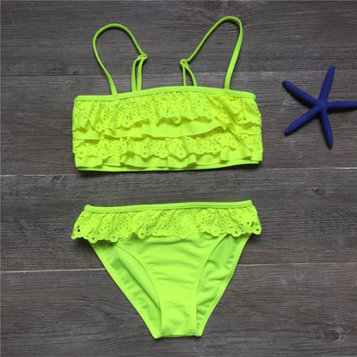Ruffle Two Piece Bikini Swimwear for Girls (7-16Y)