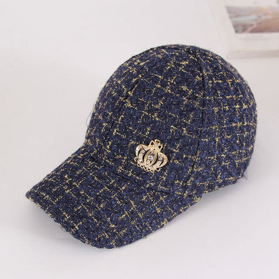 Women Tweed Baseball Cap with Diamond Crown and 1987 Decoration