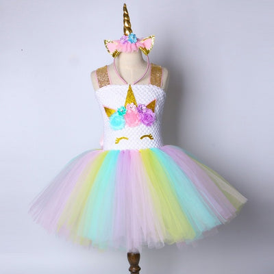 Unicorn Princess Tutu Dress with Headband (1-14Y)