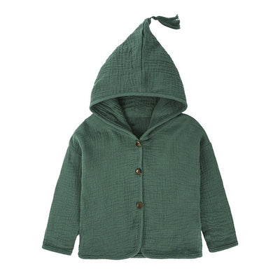 Tassel Hooded Cotton Linen Cardigan  for Babies and Kids