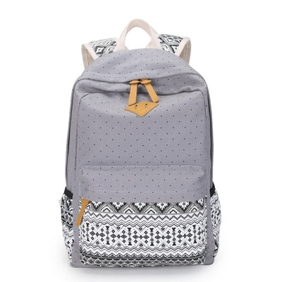 Seamless Floral Printed Polka Dot Canvas Backpack