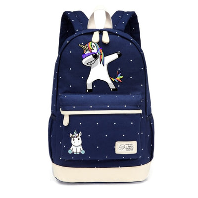 Dabbing Unicorn Canvas Backpack