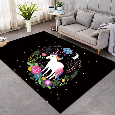 Unicorn Floral Wreath Floor Mat for Living Room