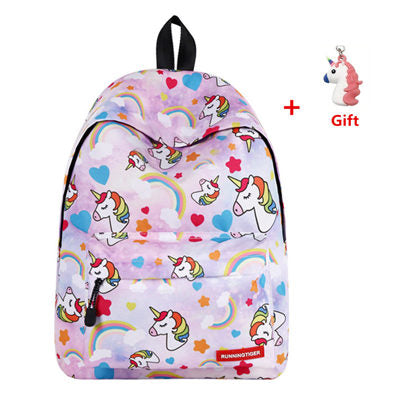 Unicorn Printed Backpack Set
