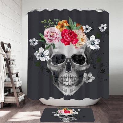 Floral Skull Shower Curtain and Bath Mat Set