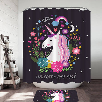 Unicorns Are Real Shower Curtain and Bath Mat Set