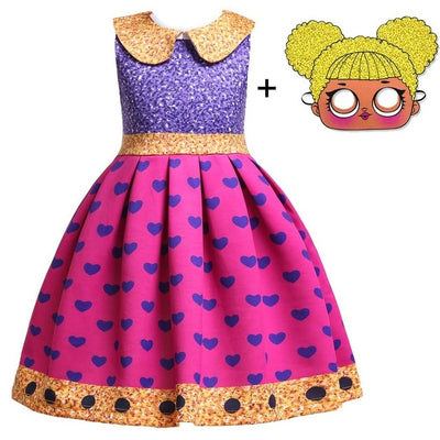 L.O.L Surprise Costume Dress with Mask for Girls (2-10Y)
