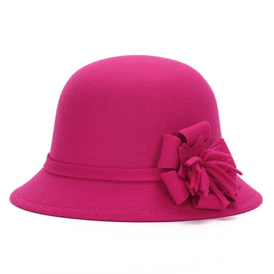 Women Floral Artificial Wool Bowler Hat