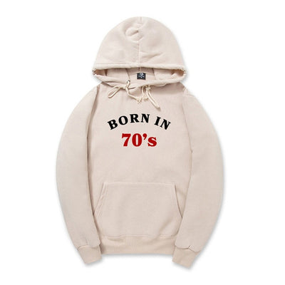 Born in 70's Printed Hooded Sweatshirt for Men