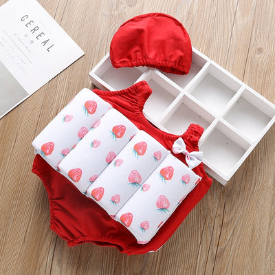 Baby Girl Strawberry Swimsuit with Cap (2-9Y)