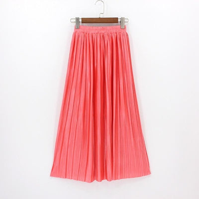 Women Vintage Pleated Ankle-length Maxi  Skirt
