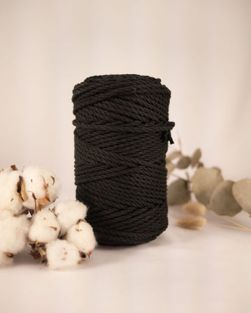 4mm Ebony Black cotton rope, 0.5kg