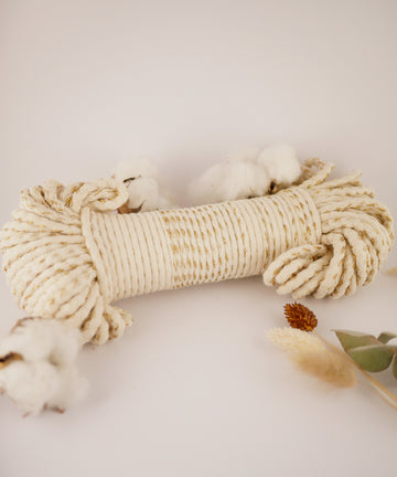 5mm Natural+Gold braided cotton rope, 50 meters
