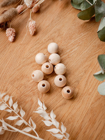 Wooden beads with small holes