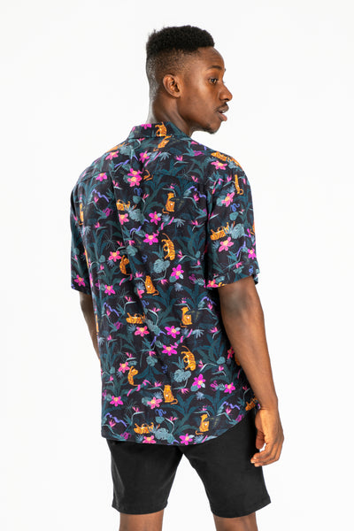 men's short sleeve party shirt by Poolside Party Shirts with tropical jungle textile print back view