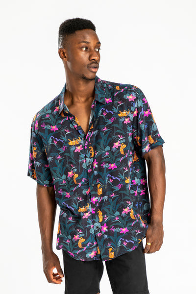 men's short sleeve party shirt by Poolside Party Shirts with tropical jungle textile print front view 02